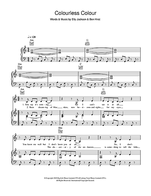Colourless Colour Sheet Music