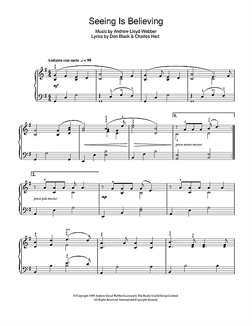 Partition piano Seeing is Believing (from Aspects Of Love) de Andrew Lloyd Webber - Piano Facile