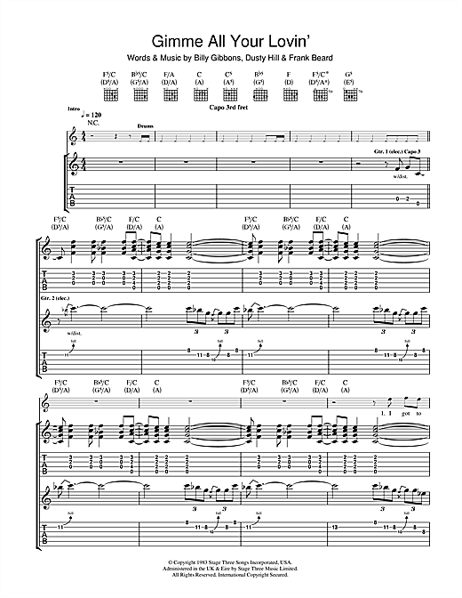 Gimme All Your Lovin Guitar Tab By Zz Top Guitar Tab 103853