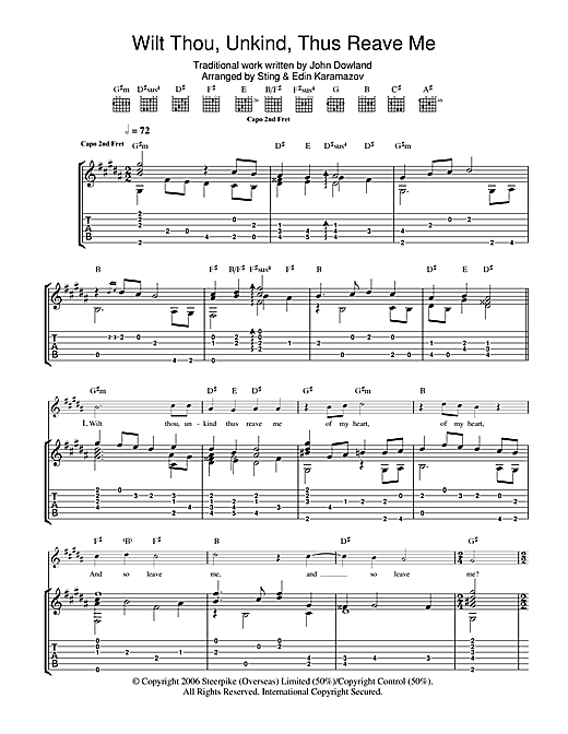 Tablature guitare Wilt Thou Unkind Thus Reave Me de Sting - Tablature Guitare