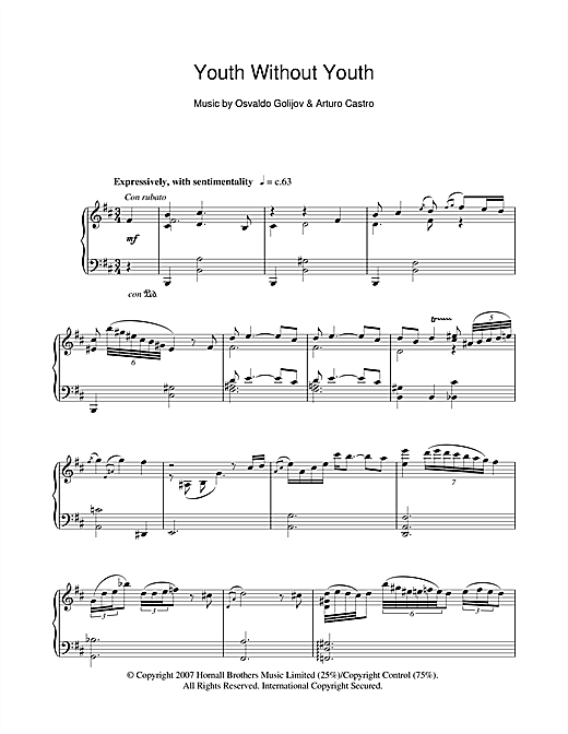 Youth Without Youth (Youth Without Youth) Sheet Music