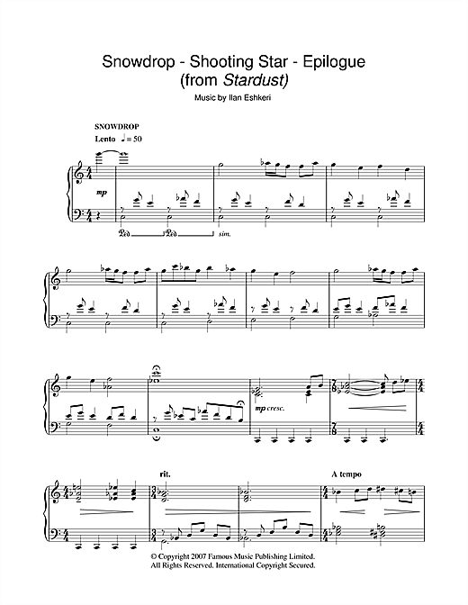 Partition piano Snowdrop/Shooting Star/Epilogue (from Stardust) de Ilan Eshkeri - Piano Solo
