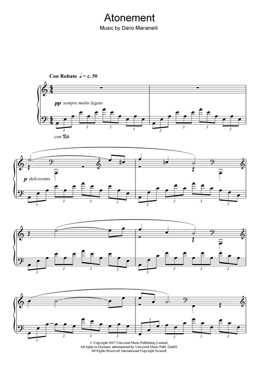Atonement Sheet Music