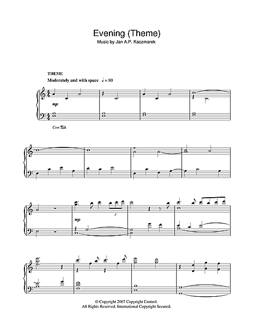 Evening (Theme) Sheet Music