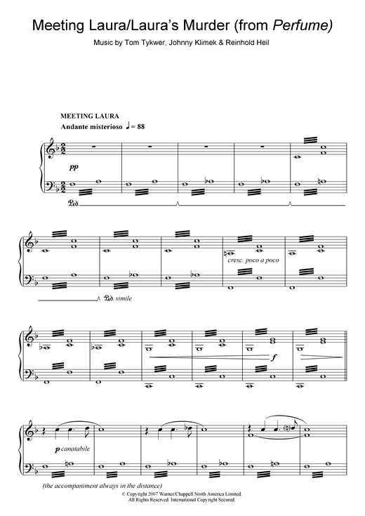 Meeting Laura/Laura's Murder (from Perfume) Sheet Music