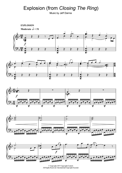 Explosion (from Closing The Ring) Sheet Music