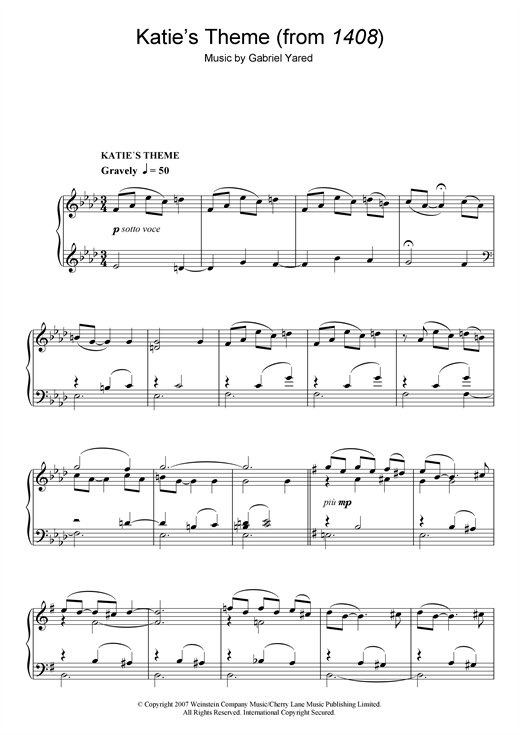 Partition piano Katie's Theme (from 1408) de Gabriel Yared - Piano Solo