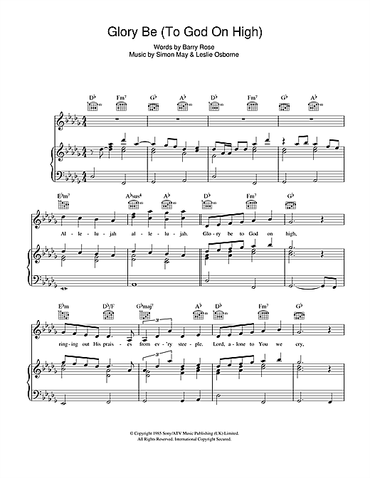 Glory Be (To God On High) Sheet Music