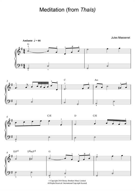 Partition piano Meditation (from Thaïs) de Jules Massenet - Piano Facile
