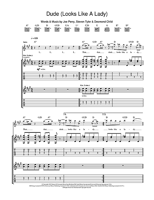 Tablature guitare Dude (Looks Like A Lady) de Aerosmith - Tablature Guitare