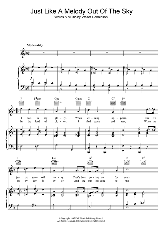 Just Like A Melody Out Of The Sky Sheet Music