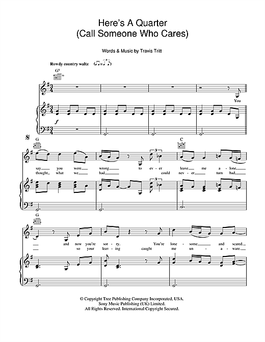 Here's A Quarter (Call Someone Who Cares) Sheet Music