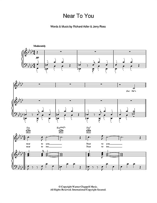 Near To You Sheet Music