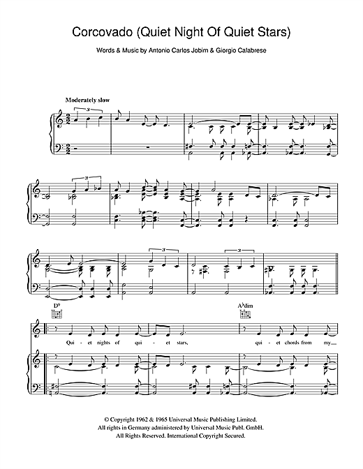 quiet nights of quiet stars sheet music pdf