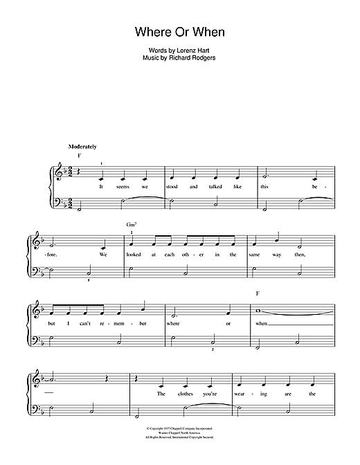 Where Or When Sheet Music