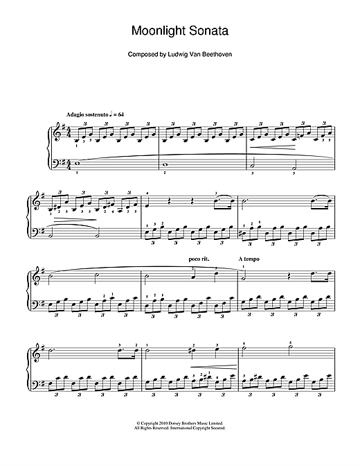 Partition piano Moonlight Sonata (Mondscheinsonate), First Movement, Op.27, No.2 de Ludwig van Beethoven - Piano Facile