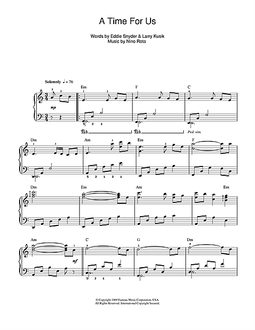 Partition piano A Time For Us (Love Theme from Romeo & Juliet) de Nino Rota - Piano Facile