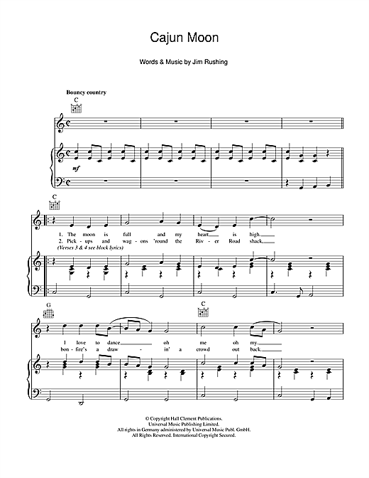 Cajun Moon Sheet Music
