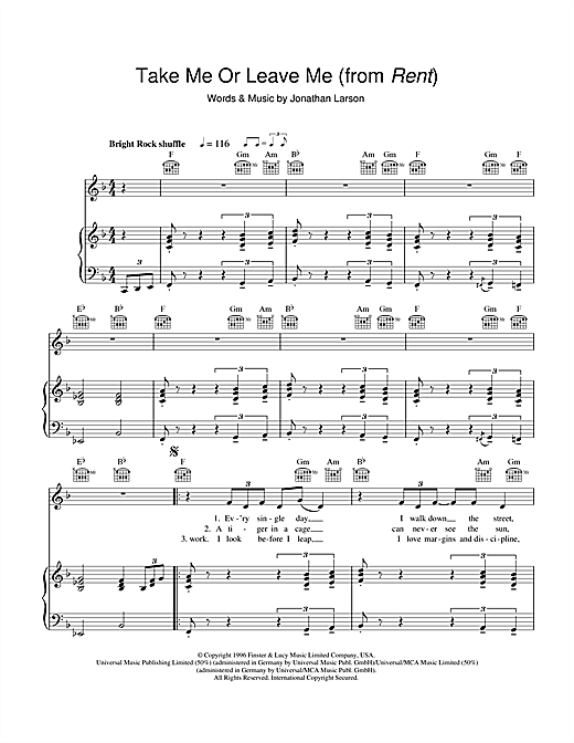 Take Me Or Leave Me (from Rent) Sheet Music