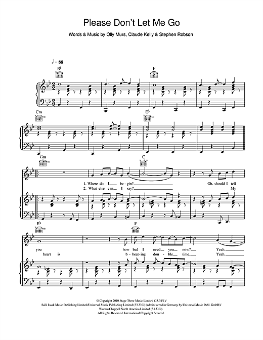 Please Don't Let Me Go Sheet Music
