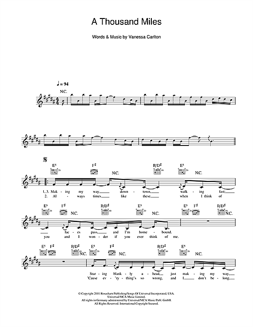 A Thousand Miles Sheet Music
