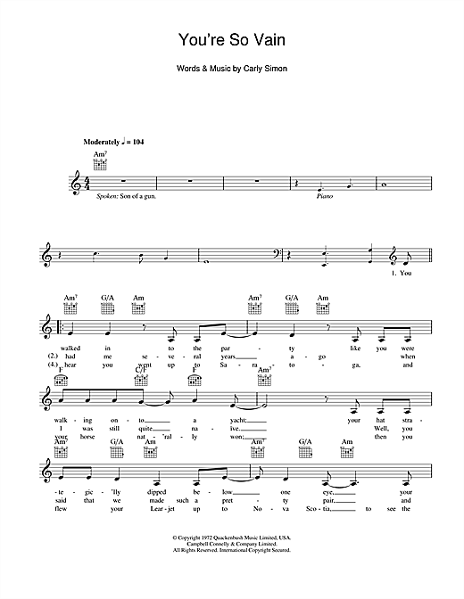 You're So Vain (Lead Sheet / Fake Book)
