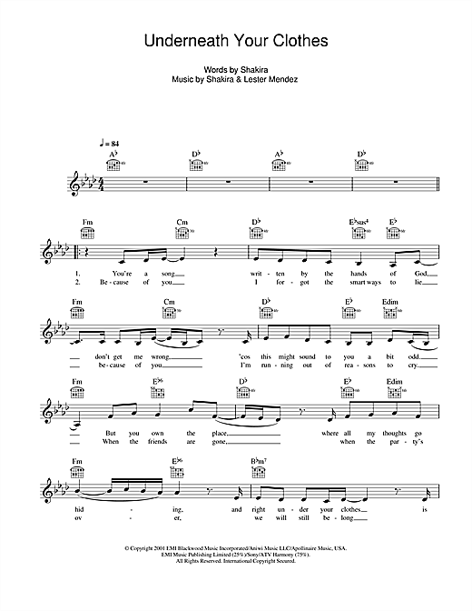 Underneath Your Clothes Sheet Music