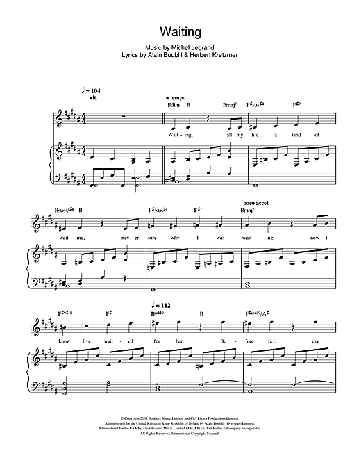 Waiting (from Marguerite) Sheet Music