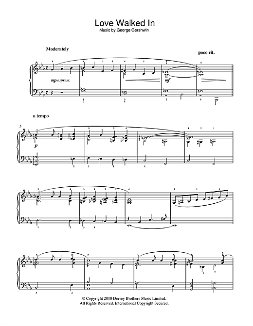 Partition piano Love Walked In de George Gershwin - Piano Facile