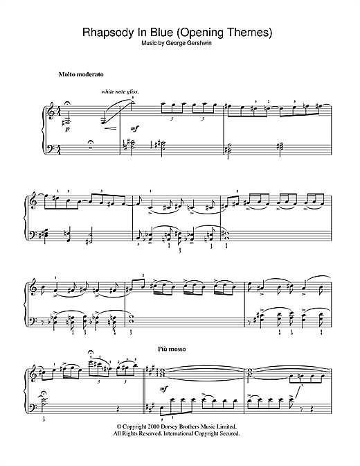Rhapsody In Blue (Opening Themes) Sheet Music By George