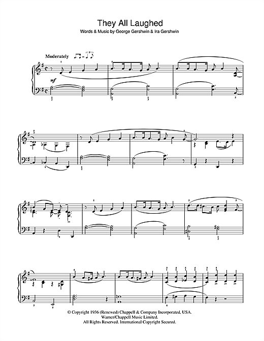 Partition piano They All Laughed de George Gershwin - Piano Facile