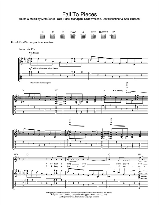 Tablature guitare Fall To Pieces de Velvet Revolver - Tablature Guitare