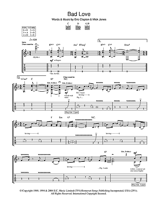 Tablature guitare Bad Love de Eric Clapton - Tablature Guitare