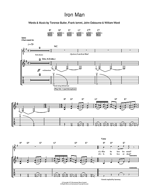 Tablature guitare Iron Man de Black Sabbath - Tablature Guitare
