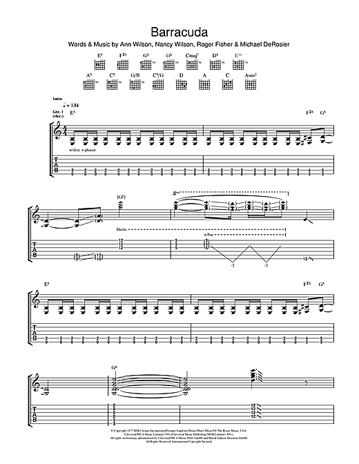 Tablature guitare Barracuda de Heart - Tablature Guitare