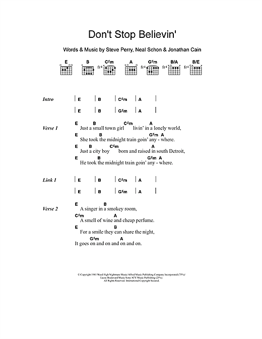 Dont Stop Believin Sheet Music By Journey Lyrics Chords 104057