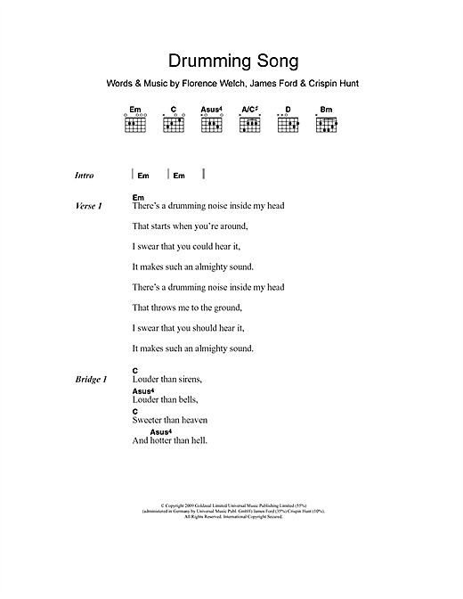 Drumming Song (Guitar Chords/Lyrics)