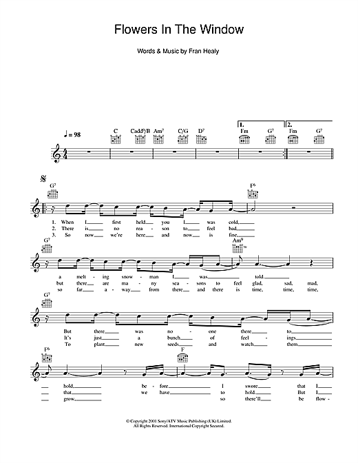 Flowers In The Window (Lead Sheet / Fake Book)