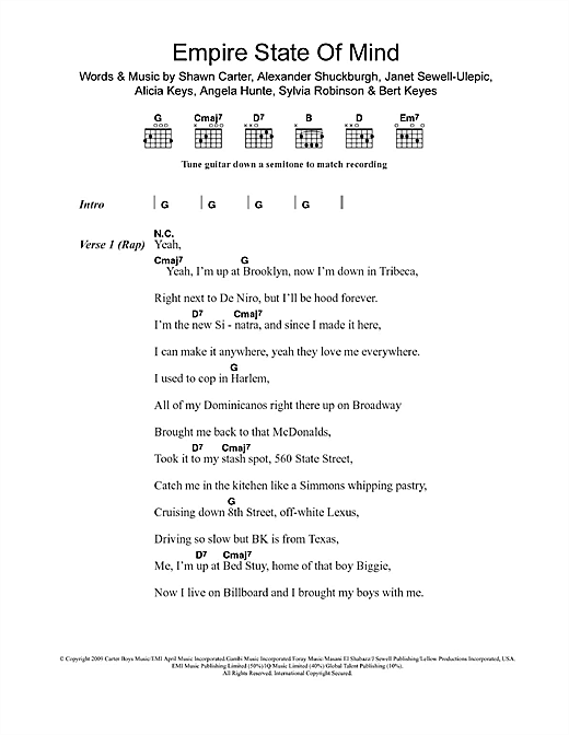 Empire State Of Mind (feat. Alicia Keys) Sheet Music