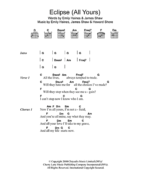 Eclipse (All Yours) Sheet Music