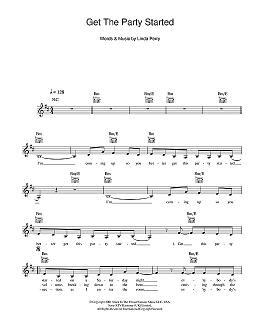 Get The Party Started (Lead Sheet / Fake Book)