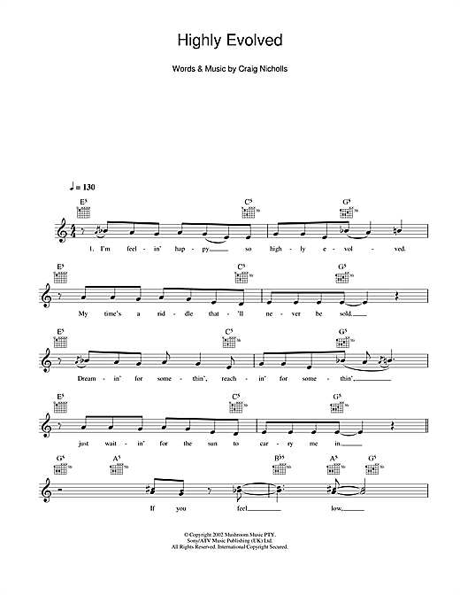 Highly Evolved (Lead Sheet / Fake Book)