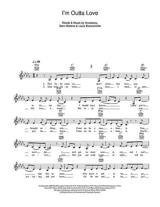I'm Outta Love (Lead Sheet / Fake Book)