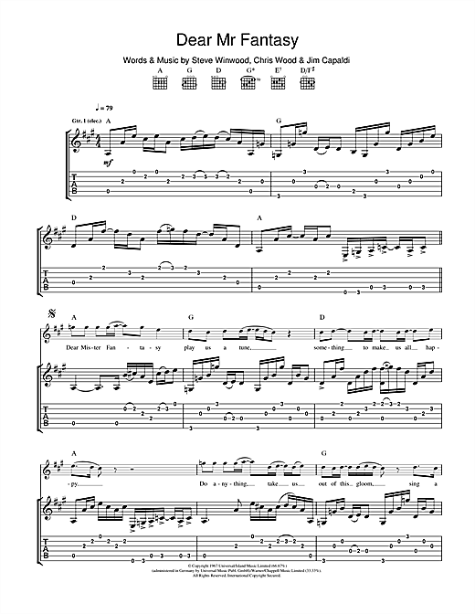 Dear Mr. Fantasy Sheet Music