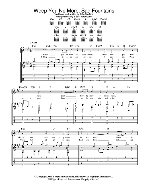 Weep You No More, Sad Fountains Sheet Music