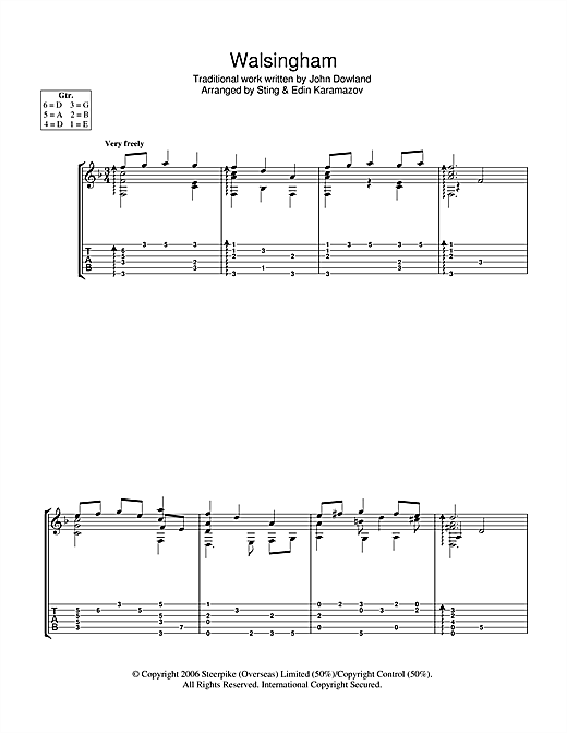 Tablature guitare Walsingham de Sting - Tablature Guitare