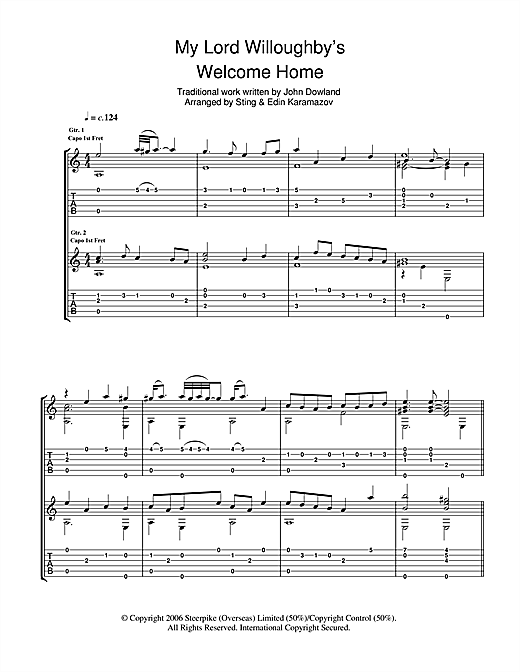 Tablature guitare My Lord Willoughby's Welcome Home de Sting - Tablature Guitare