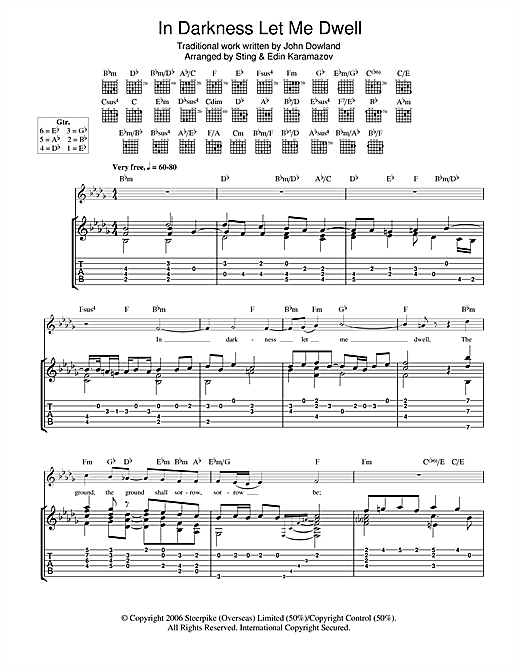 In Darkness Let Me Dwell Guitar Tab By Sting Guitar Tab 104090