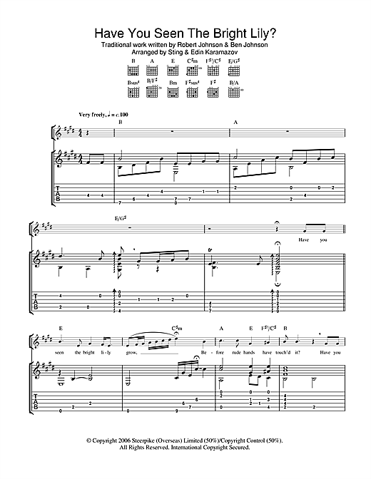 Have You Seen The Bright Lily? (Guitar Tab)