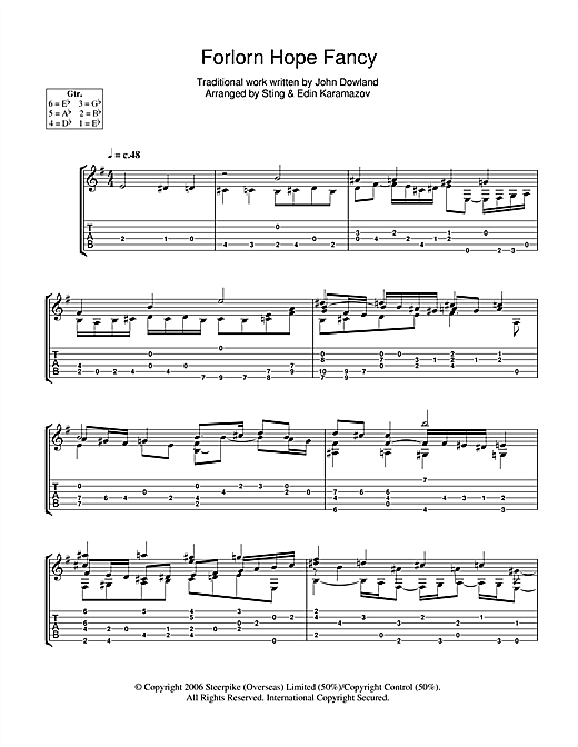 Tablature guitare Forlorn Hope Fancy de Sting - Tablature Guitare